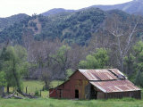 Old Red Barn, Green Meadow, Mountains and Trees, California Fotografisk tryk af Rich Reid