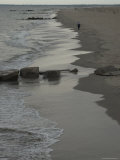 Lone Man Walking Along the Beach, Brooklyn, New York Photographic Print by Todd Gipstein