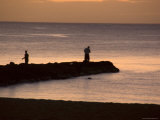 People Fish Off of a Jetty in Waialua Bay, Hawaii Photographic Print by Stacy Gold