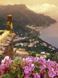 Sea and Flowers from Hotel Polumbo in Ravello, Italy Photographic Print by Richard Nowitz