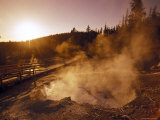 Sunrise over the Echinus Geyser at the Noris Geyser Basin in Yellowstone National Park, Wyoming Photographic Print by Richard Nowitz