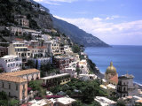 The Beach and City of Positino on the Amalfi Coast in Italy Photographic Print by Richard Nowitz