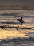 Surfer Silhouette at Ventura Point, California Photographic Print by Rich Reid