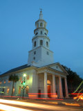 Street Intersection at Saint John's Luthern Church at Night in Charleston, South Carolina Photographic Print by Richard Nowitz
