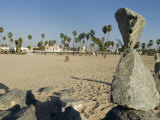 Stacked Rock Art at Venice Beach in California Photographic Print by Rich Reid