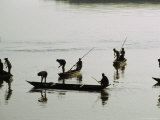 Men Fish Together near Jamalpur on the Old Brahmaputra River Photographic Print by James P. Blair