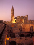 Sound and Light Show at Jerusalem City Museum of Citadel of David and Jaffe Gate Fotografisk tryk af Richard Nowitz