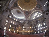 The Interior of the Suleymaniye Mosque, Istanbul, Turkey Photographic Print by Richard Nowitz