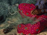 Omani Fisherman in Colorful Clothing Mending Net at Sur Photographic Print by James L. Stanfield