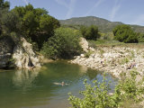 Swimmers Cool Off in the Ventura River, California Photographic Print by Rich Reid