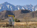 Lone Pine Sign and Mount Whitney from Highway 395 in Lone Pine, California Photographic Print by Rich Reid