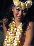 Traditional Hawaiian Dancer Poses in Wakiki Beach, Oahu, Hawaii Photographic Print by Richard Nowitz