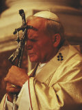 Pope John Paul II Prays with a Bishop&#39;s Crosier Pressed to his Brow Photographic Print by James L. Stanfield