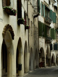 Narrow Road Lined by Shuttered Windows, Asolo, Italy Fotoprint van Todd Gipstein