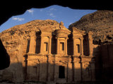 The Facade of the Monastery at Sunset in Petra, Jordan Photographic Print by Richard Nowitz