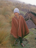 Peruvian Horseman in Grasslands, Cordillera Central near Chachapoyas Photographic Print by Gordon Wiltsie