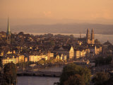 Sunset over Zurich, Switzerland from Hotel Zurich Photographic Print by Richard Nowitz
