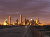 Sunset on the Dallas Skyline Seen from the South Bank of the Trinity River in Texas Photographic Print by Richard Nowitz