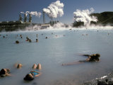 Swimmers in a Therapeutic Thermal Lake Created from a Power Plant Photographic Print by Richard Nowitz