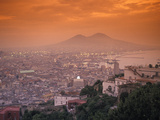 Sunset at Mount Vesuvius with Naples in the Foreground at the Bay of Naples in Italy Photographic Print by Richard Nowitz