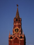 Spasskaya Tower with It's Clock and Spires and Star-Topped Pinacle Photographic Print by Ira Block