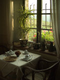 Table is Set for Breakfast near a Window Looking Out on Tuscan Hills, Tuscany, Italy Fotoprint van Todd Gipstein