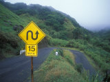 Traffic Sign on the Kahekili Highway North Shore, Hawaii Photographic Print by Rich Reid