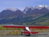 Supercub and the Wrangell Mountains in Mccarthy, Alaska Photographic Print by Rich Reid