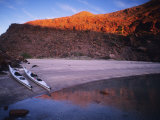 Sea Kayaks at a Island Camp at Sunset, Baja, Mexico Photographic Print by Bill Hatcher