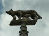 The Statue of the She-Wolf Atop a Post Outside the Duomo in Siena, Tuscany, Italy Photographic Print by Todd Gipstein