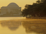 Scenic View of the Jefferson Memorial and Tidal Basin with Fog, Washington, D.C. Photographic Print by Kenneth Garrett