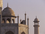 The Taj Mahal Marble Domes with Pietra Dura Inlay and Minaret at Dawn, Agra, India Photographic Print by Jason Edwards