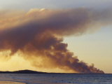 Smoke from a Wildfire Billows Across a Calm Bay at Sunset, Australia Photographic Print by Jason Edwards