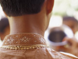 The Intricate Silk Embroidery on the Collar of a Hindi Groom's Robe Photographic Print by Jason Edwards