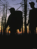 Silhouette of Two Backpackers in Front of Bare Trees after Sunset Photographic Print by Dawn Kish