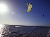 Three Kite Surfers on a Windy Summer Day Race Across a Bay, Australia Photographic Print by Jason Edwards
