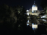 The Royal Exhibition Building Lit Up Night, Reflecting in the Lake, Australia Photographic Print by Jason Edwards