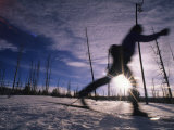 Silhouette of Of Women Cross County Skiing in Wyoming, Yellowstone Photographic Print by Bobby Model
