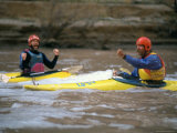 Two Men Celebrating after a Successful Run Through a Rapid, Colorado Photographic Print by Kate Thompson