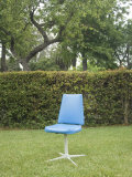 Single Blue Chair Sitting in Yard, California Photographic Print by James Forte