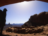 Silhouette of a Man with Standing at an Anasazi Ruin, Utah Photographic Print by Kate Thompson