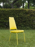 Single Yellow Chair Sitting in Yard, Santa Barbara, California Photographic Print by James Forte