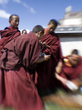 Student Monks Pour Tea Outdoors at a Monastery, Qinghai, China Photographic Print by David Evans