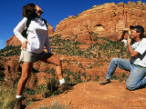 Silly Photo of a Woman Modeling for a Photograph While Out for a Hike Photographic Print by Kate Thompson