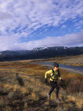 Women Trail Running in Yellowstone National Park, Wyoming Photographic Print by Bobby Model