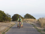Woman Bikes on the Path in el Capitan Beach State Park Photographic Print by Rich Reid