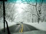 View from Inside a Car, Driving on a Snowy Road, Massachusetts Photographic Print by Tim Laman