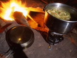 Split Pea Potato Soup Simmers on a Camp Stove Next to Camp Fire, Colorado Photographic Print by Kate Thompson