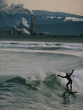 Surfer Off the North Jetty Outside Eureka, California Photographic Print by Randy Olson