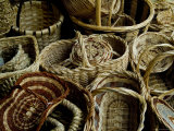 Woven Baskets for Sale at a Market in Tuscany, Italy Photographic Print by Todd Gipstein